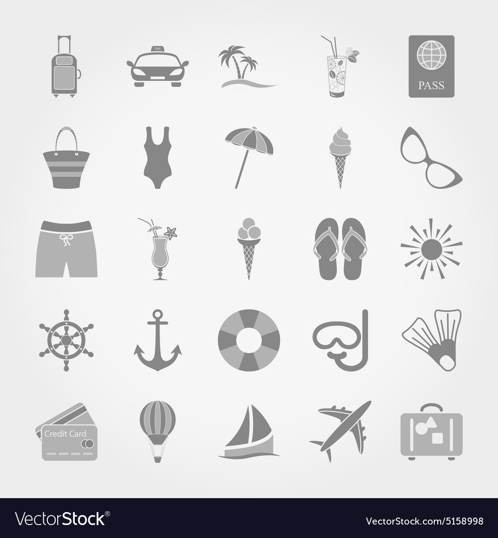 Summer travel and vacation icon set vector