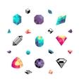 Color crystals diamond shapes polygon stones vector image