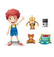 A young boy and his toys vector image