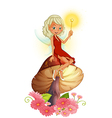 A fairy holding a wand sitting above a giant vector image