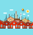 Abstract town with factory on background vector image