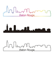 Baton Rouge skyline linear style with rainbow vector image