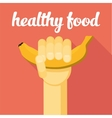 healthy food  hand with banana vector image