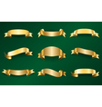Gold ribbons set on green 1 vector image