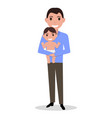 cartoon father alone with a child vector image