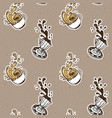 vintage coffee cups seamless pattern vector image