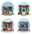 Facade of shop and stores outdoor exterior vector image