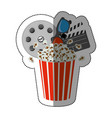 colorful sticker with popcorn cup with vector image