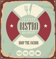 Bistro retro sign on old rusty metal vector image