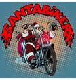 Santa Claus biker motorcycle Christmas gifts vector image