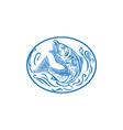 Rockfish Jumping Up Oval Drawing vector image