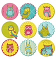 Scrapbook Design Elements - Tags with Cute Owls vector image