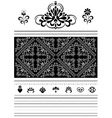 Calligraphic openwork border and ornaments for des vector image
