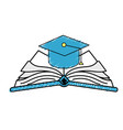 cap graduation over open book vector image