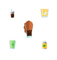 flat icon beverage set of carbonated cup vector image