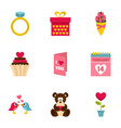 gift for valentine day icons setflat style vector image
