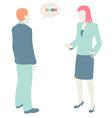Men and Women Communicate flat design pastel vector image