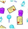 School item pattern cartoon style vector image