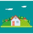 Seasons Change Summer Village Hills Field vector image