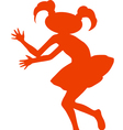 Silhouette of cartoon girl vector image