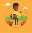 Farmer collecting tomatos vector image