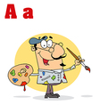 Artist cartoon with letter vector image vector image