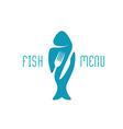 Fish food restaurant menu title logo Silhouette of vector image