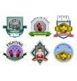 Mma fighting emblems labels set vector image