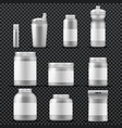 sport supplement plastic jar containers for drinks vector image
