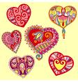 hand draw ornate heart shape set vector image