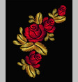 embroidery flower necklace ornament red rose vector image