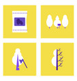 set of ecology icons on color backgrounds square vector image vector image