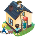 Children painting and fixing the house vector image