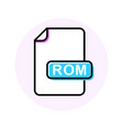 rom file format extension color line icon vector image