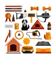 set of pets accessories isolated on white vector image