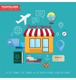 Travel and vacation flat icon set vector image