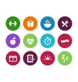 Fitness circle icons on white background vector image