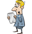 startled businessman with tablet vector image