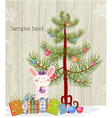 bunny with tree vector image