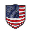 badge with flag united states of america in vector image