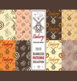 Bakery patterns set vector image