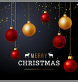 christmas background with red and gold balls vector image