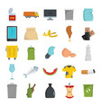 garbage flat icons set for vector image