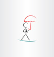 man with umbrella walking icon vector image
