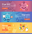 medical and health banners set drug store vector image