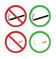No smoking and smoking area signs vector image
