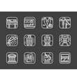 Passenger transportation white line icons vector image