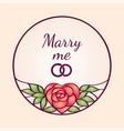 vintage frame with heart-shaped rose flower vector image