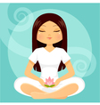 girl in meditation posture vector image vector image