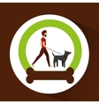 Man bearded walking a gray dog vector image